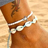 Casdre Retro Layered Anklets Sea Turtle Beach Foot Chain Shell Adjustable Chain Foot Jewelry for Women and Girls (A White)