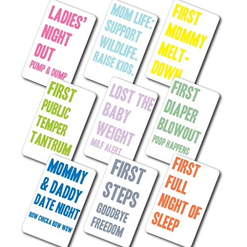 Mommy Milestone Wine Bottle Labels - 9 Wine Stickers Baby Shower Gift Pregnancy Present for...