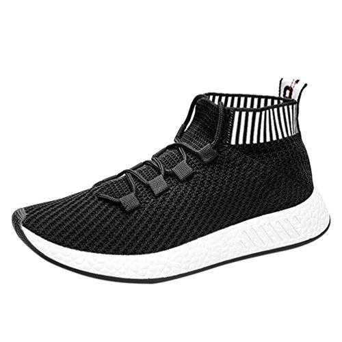 Chenang Herren Swift Racer Gymnastikschuhe Herren Md Runner Low-Top Sneaker Fliegende Linie gewebt High-Top-Soft-Laufschuhe Turnschuhe Socken Schuhe (42 EU, Schwarz)