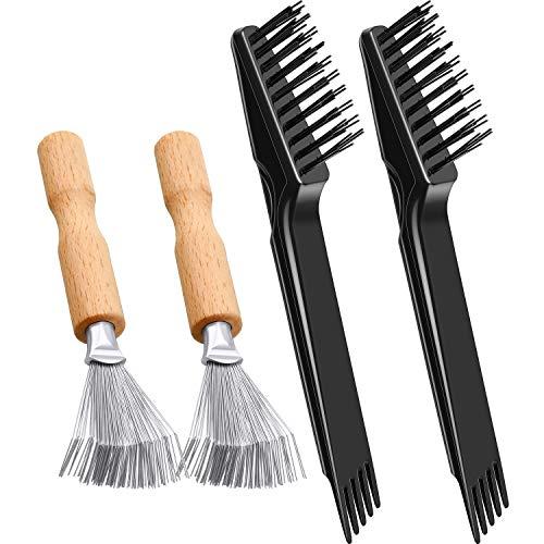 4 Stück Kamm Reinigungsbürste Mini Haarbürste Kamm Reinigungsbürste Haarbürsten Reinigungswerkzeug Entfernen Kamm Eingebettete Werkzeug zum Entfernen von Haarstaub Zuhause Salon Anwendung (Holzgriff)