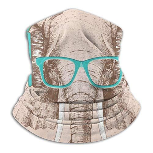 Dydan Tne Calentador de Cuello, Polaina, Elefante con Gafas, Gorro de Microfibra Suave, Bufanda Facial, máscara para Clima frío de Invierno para Hombres y Mujeres NCK-700