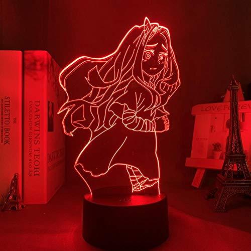 Zero Two 002 - Lámpara de noche LED 3D con figura de anime, para niñas, dormitorio, decoración, lámpara de noche, lámpara de mesa, regalo de cumpleaños, 7 colores tocando
