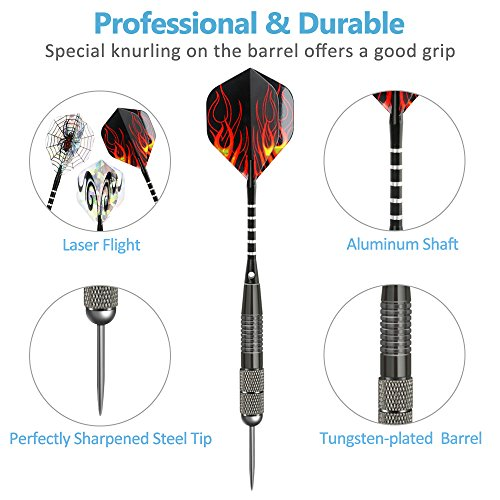 3 Pack Steel Darts Set Tungsten 26 Grams with Aluminum Shafts and 3 Style Flights + 1 Case, Professional Metal Dart Tip Set (26g)