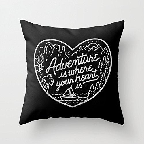 Aventure est où votre cœur est Citations taies d'oreiller Couvre-lit décoratif taie d'oreiller 18 x 18 pour chambre fille