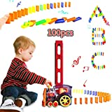 B-Qtech 100Pcs Domino Train, Building Blocks Toys for Kids Ages 3-12, Domino Rally Electric Train Set with Family, Automatic Domino Train Set Kids Toy with Light and Sound Construction