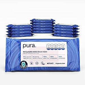 Pura Salviettine Igieniche Umidificate (14 Confezioni da 40 Salviettine, 560 Salviettine), Certificate 'Fine To Flush', Senza Plastica, Biodegradabili, Compostabili – 4400 g