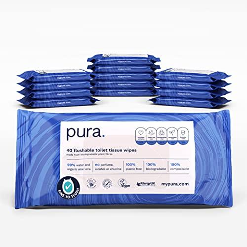 Pura TW14 - Premium Toallitas Higiénicas Húmedas (14 Paquetes de 40 Toallitas), limpias, aptas para tirar en inodoro, libre de plástico, Biodegradable, Compostable