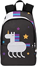 Stylish Cute Doodle Unicorn and Stars Casual Daypack Travel Bag College School Backpack for Mens and Women