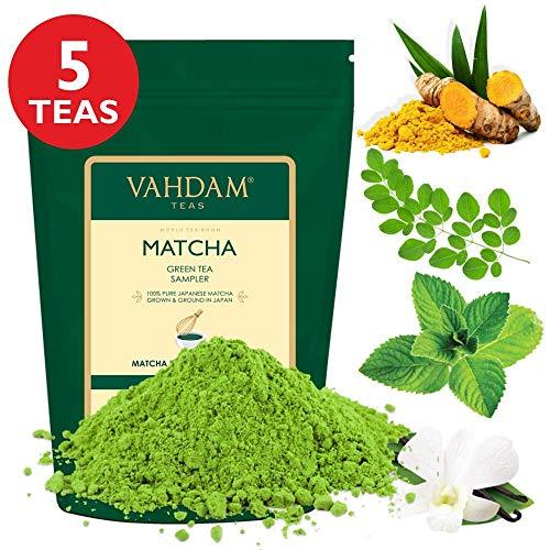 VAHDAM, Muestreador de Té Verde Matcha - 5 tés | Polvo de té Matcha de...