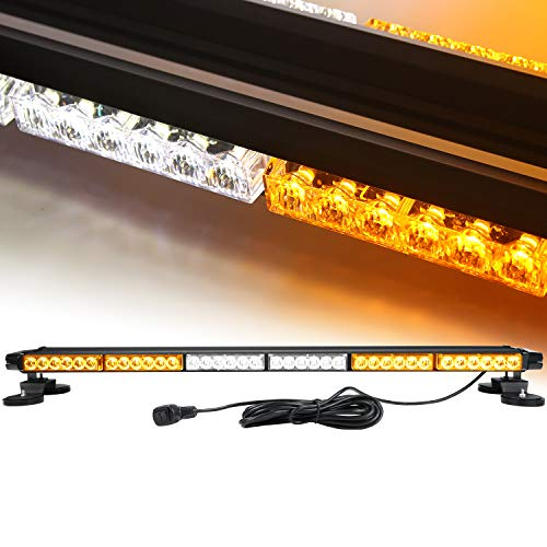 38'' 78 LED 7 Flash Mode Traffic Advisor Four Side Rooftop Emergency Hazard Warning Strobe Light with Four Strong Magnetic Base, 78W, IP65 Waterproof for Snow Plow, Trucks, SUV Construction Vehicles