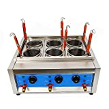 Electric Noodle Cooker,Commercial 4/6 Holes Noodles Cooker Electric Pasta Cooking Machine Oven Stainless Steel Body Frying Baffle Noodle Boiler For Home Restaurant + Filter 4Kw/6Kw 110V (6 Holes)