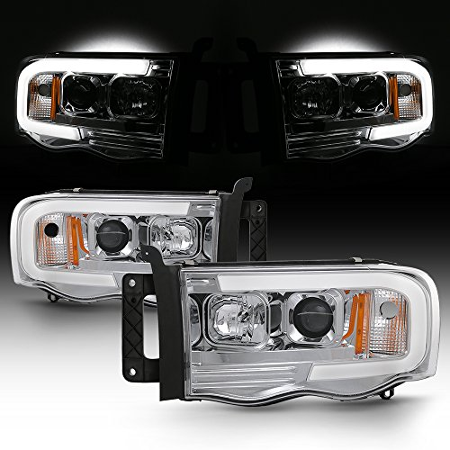 For 02-05 Dodge Ram 1500 03-05 2500 3500 LED Tube Projector Headlights Driver+Passenger Pair