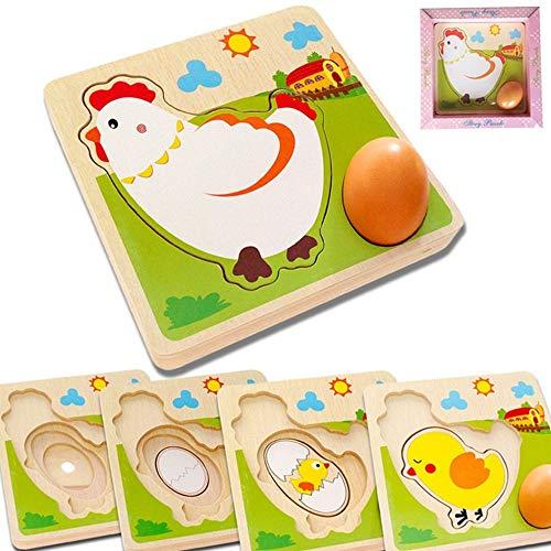 Ruiy Kinderholzpuzzle Küken Frühe Bildung Spielzeug, intellektuelle Entwicklung und das Wachstum von Dreidimensionales Puzzle Multi-Layer-Puzzle, Fun Huhn-Hennen to Eggs Prozess Puzzle wachsen
