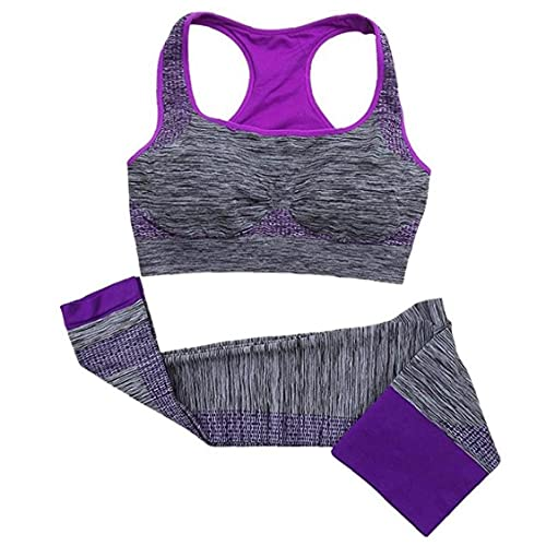 Liadance Deportes Conjunto de Yoga, Ropa de Deporte Mujeres Set, Yoga Body Ropa Deportiva de Cintura Alta Aptitud Que se Ejecuta Gimnasio Yoga Traje Púrpura L