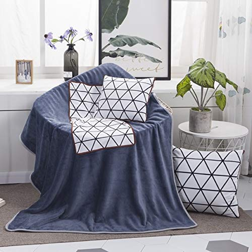 Pillows White Diamond Pattern Multifunctional Plush Blanket Square Pillow Quilt Office Car Pillow Cushion, Size : L Asun