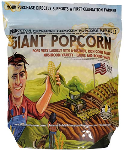 Mushroom Popcorn Kernels by Princeton Popcorn Farm Grown, Non GMO, Gluten Free UnPopped, Ball Shaped, Old Fashion Popcorn Pops Extra Large, Popping Corn for Air Popper & Stovetop 8lbs