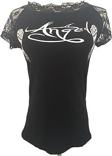 Mujeres Camisetas T Shirt Manga Corta Casual Alas de ángel Impresion Blusas Camisas Suelta Tees Tops