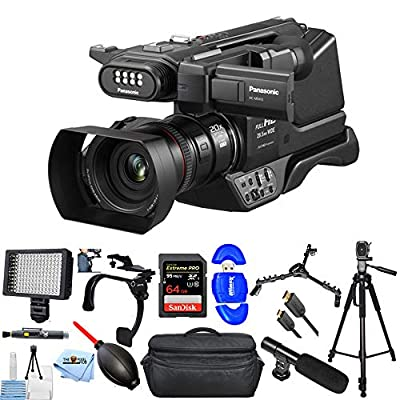 Panasonic HC-MDH3 AVCHD Shoulder Camcorder with LCD Screen & LED Light (PAL) Bundle with Extreme Pro 64GB SD, LED Light, Shoulder Stabilizer, Gadget Bag, Microphone and More from Panasonic