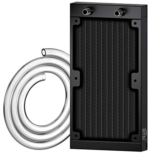 DIYhz Water Cooling Computer Radiator, 120 Pipe Aluminum Heat Exchanger Liquid Cooling Radiator Heat Sink 240mm for CPU PC Laser Water Cool System DC12V Black