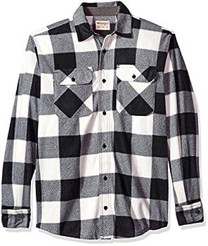 Wrangler Authentics Men s Long Sleeve Plaid Fleece Shirt Birch Buffalo Medium