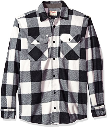 Wrangler Authentics Men's Long Sleeve Plaid Fleece Shirt, Birch Buffalo, XL