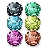 EUROXANTY Pack 6 Ceniceros cristal | Cenicero 4 apoya cigarros | Cenicero de Exterior | Cenicero Decorativo para Terraza | Cenicero Redondo | 7 cm |
