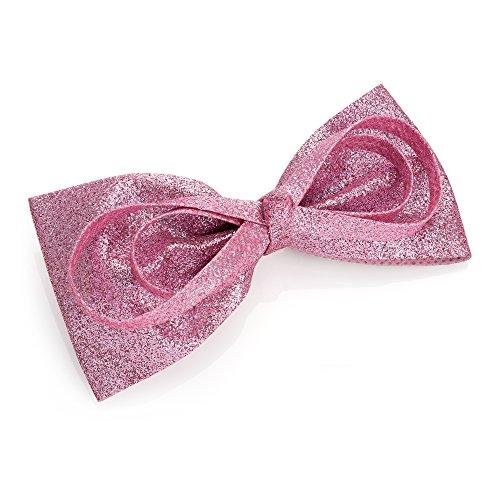 Grande barrette à cheveux avec nœud rose pailleté