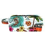 Neceser Maquillaje Surfeando en la Isla Tropical Bolso de Cosméticos de Viaje Portátil Bolsas de Maquillaje impresión Organizador de Cosméticos para Mujeres Niñas 21x8x9 cm