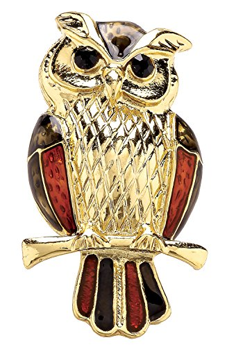 Jodie Rose Red and Gold Owl Brooch