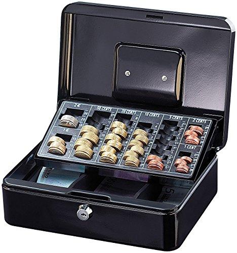 Xcase Caja registradora: Caja de seguridad de acero con tablero y asa para contar monedas en euros (Cajas registradoras)