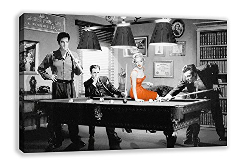 Canvas-Wandkunst mit James Dean, Elvis, Marilyn Monroe am Snooker, 112 x 66 cm