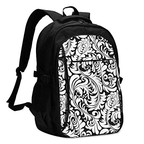 XCNGG Laptop Backpacks Tactical Elegant Abstract (Tiles Seamlessly) Office & School Supplies with USB Data Cable and Music Jack Laptop Bags Computer Notebook 18.1X13.3 inch