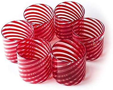 Juego de vasos de cristal de Murano, rojo y transparente, vasos de rayas, seis vasos, copas de vino y agua, hecho a mano, vidrio soplado, 100% marca de origen garantizada, YourMurano, Rigel