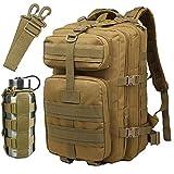 ATBPミリタリーメンズタウンリュックサックアウトドアバックパック40L大容量男女兼用出張通学通勤 旅行バッグパック用 Dリング 4個 (カーキ)