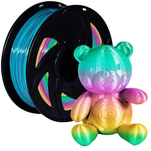 PLA 3D Printer Filament 1.75mm Rainbow Color Changing Pla Spool, Xvico Filaments 2.2LBS 1KG for FDM Printer, Pack of 1, Multicolor