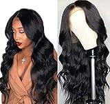 Maxine 8A - Peluca de encaje ondulado, densidad 130%, cabello humano, ajustable, pelucas...