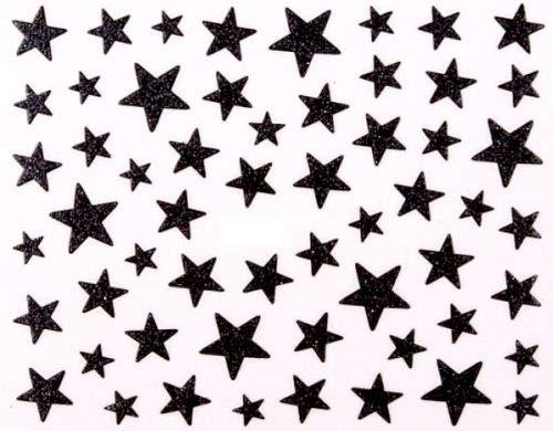 3D Nagelsticker Sterne mit Glitzer versehen.Glitter Nailsticker, selbstklebend (Schwarz)