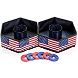 Win SPORTS Collapsible Washer Toss Game Set,Fun Backyard & Outdoor Indoor - Playtime Sports Includes 6 Washers with Carrying Case