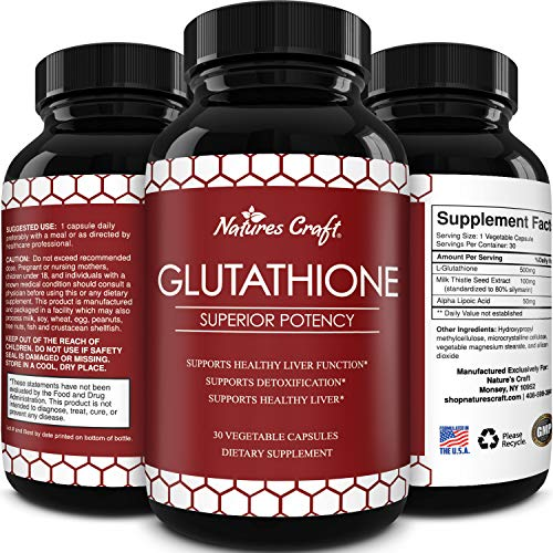 Pure Glutathione Supplement with Glutamic Acid - L Glutathione Pills with Silymarin Milk Thistle Extract ALA and Amino Acid Complex for Liver Support Anti Aging Skin Care Immunity and Brain Health