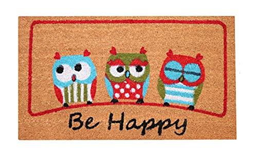 Zerbino ingresso casa, tappeto ingresso interno, zerbino ingresso esterno, zerbino in fibra di cocco naturale, tappeto asciugapassi 40x70 (Be Happy)