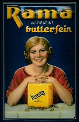 Buddel-Bini Versand Blechschild Nostalgieschild Rama Margarine butterfein Würfel Milch Margarinewürfel Schild Werbeschild