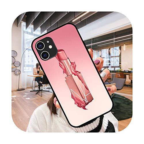 Funda de teléfono para iPhone 12 Mini 11 Pro XS MAX XR X 8 7 6S 6 Plus negro cubierta cubierta moda impermeable elegante lápiz labial chica-G1-iphone 12 mini
