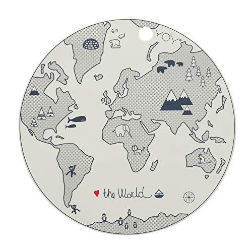 OyOy 1100920 Mini World Placemat: segnaposto per bambini, rotondo, lavabile, Ø 39 cm, 100% silicone