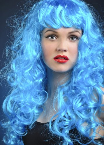 Perruque de sirène frisée pantomime Dame bleu