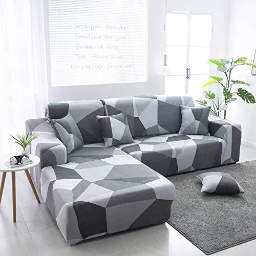 Fundas elásticas para sofá para Sala de Estar, Funda geométrica para sofá, Funda para sofá, Esquina para Mascotas, en Forma de L, Chaise Longue, Funda para sofá A1, 2 plazas