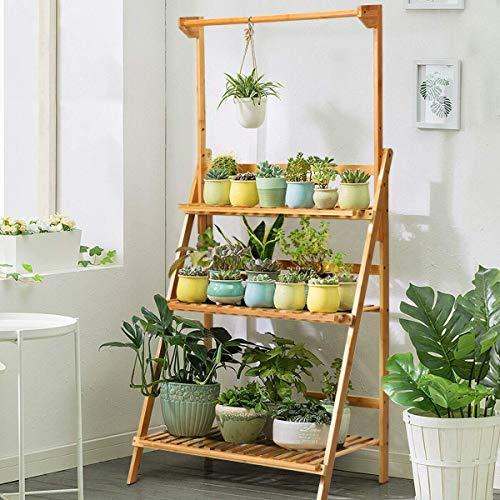 N /A Support pour plantes en bambou - Étagère à fleurs à 3 niveaux - Étagère pliable en bambou - Pour intérieur, bureau, balcon, salon et jardin