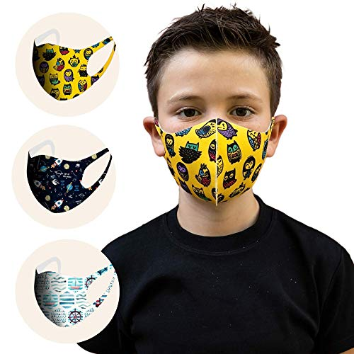 CNS MASK |3 Pcs Comfortable Kids Mask Washable | Flexible, Comfortable and Breathable Face Mask for Kids | Cool Face Masks for Boys (Youngster, Kids-S)