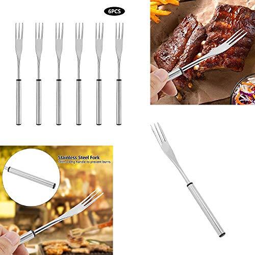 Cafopgrill 6 Stücke Edelstahl Hot Pot Fondue Gabel Picknick Im Freien Grillspieß für Käse Schokoladenfondue Braten Marshmallows Fleisch