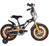 JXH Biciclette per Bambini 12/14/16 / 18Inch, Biciclette per Bambini Acciaio al Carbonio ad Alta della Formazione con Regalo Rotella per 2-9 Anni Ragazzi e Ragazze,18in Orange