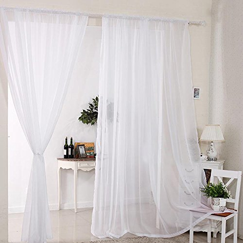 2pcs Sheer Voile Window Curtain Rod Pocket Panels White 55*90inch for Living Room Dining Room